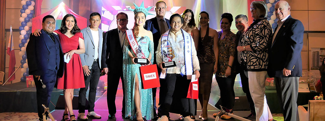 Mr. & Ms. Amcham 2019 winners representing Timex Phils. together with the judges, Directors & Ms Amy Hart Vrampas